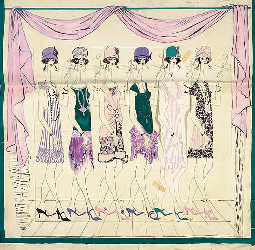 Design No.1157 for a scarf, 1920s chorus girls, one figure with a nude variant, probably for Jacques Fath - 1957; and a Medieval Court Scene, design for a scarf for Jacques Fath, indistinctly signed Cleppey? - 1957 See Illustration of No.1157 	 (2)