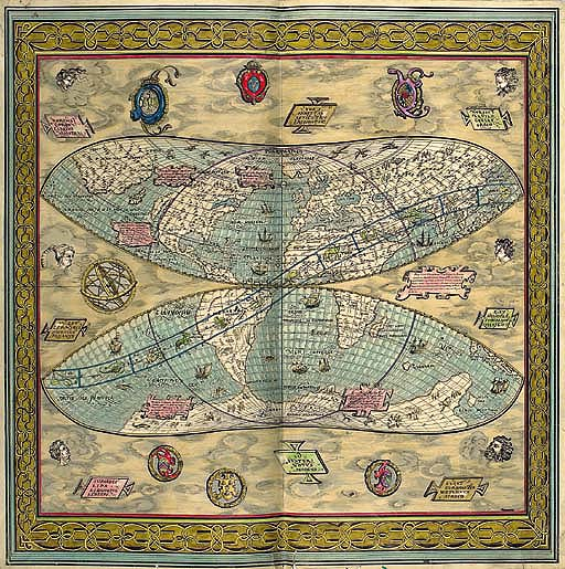 Design No.1132 for a scarf with a map of the world, signed Tchang - 1957 See Illustration