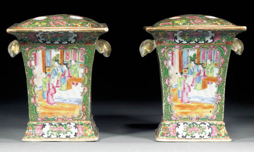 A PAIR OF CANTONESE BOUGH POTS 19TH CENTURY