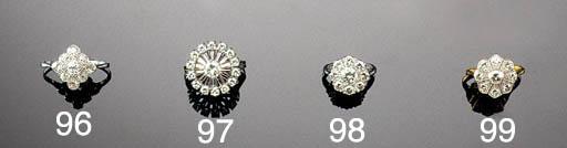 A diamond nine stone cluster ring,