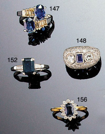 Four sapphire rings,