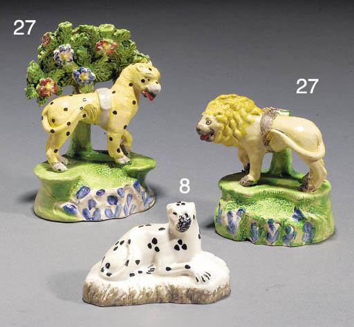 Two pearlware models of a leop