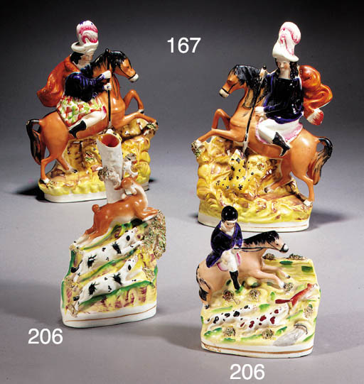 A pair of equestrian figures