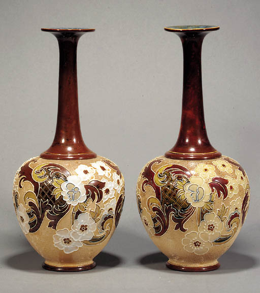 A pair of Slaters Patent vases