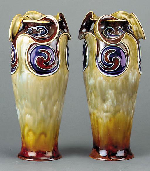 A pair of Art Nouveau stonewar