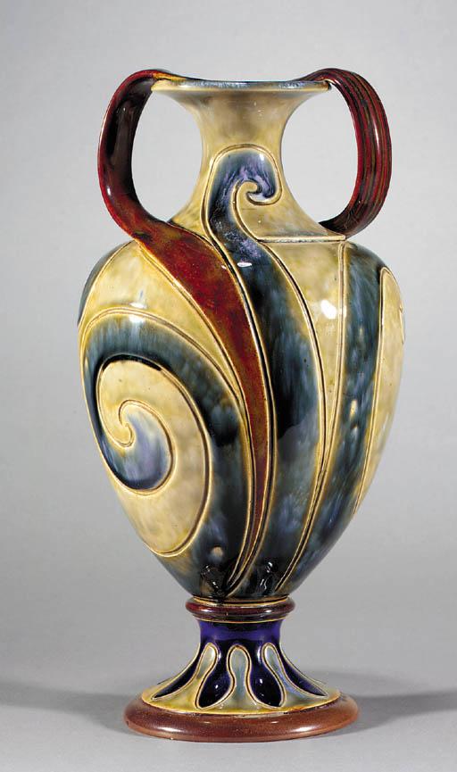 A pair of stoneware Art Nouvea