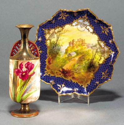 A Burslem twin handled vase