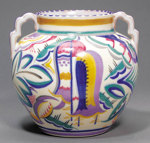 A twin-handled vase