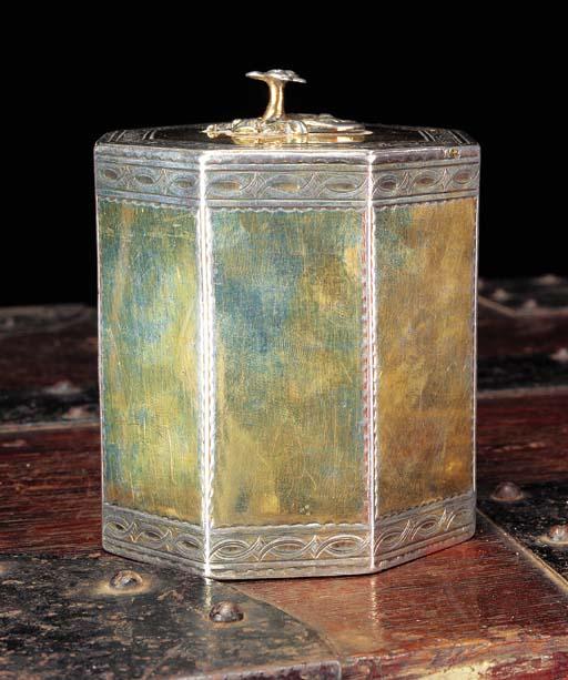 A GEORGE III SILVER-GILT TEA CADDY