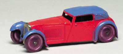 A pre-war Dinky red and blue 2