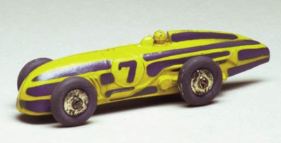 A pre-war Dinky yellow and blu