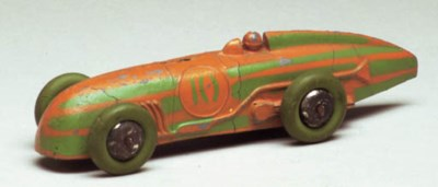 A pre-war Dinky orange and gre