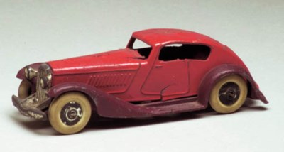 A pre-war Dinky red and maroon