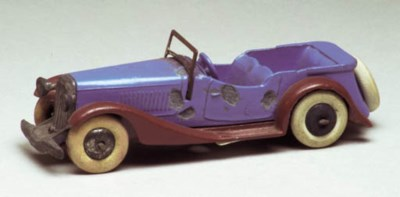 A pre-war Dinky blue and brown