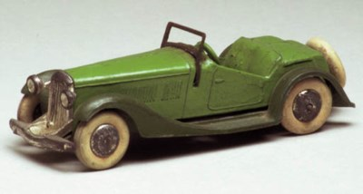 A pre-war Dinky green and dark