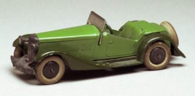 A pre-war Dinky green and dark