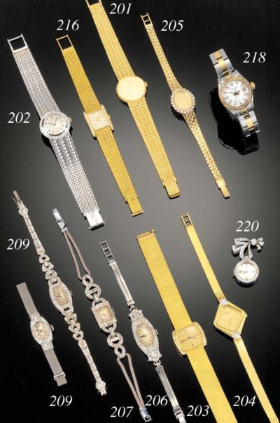A lady's diamond fob watch,