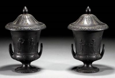 A pair of Wedgwood black basal
