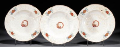 Three Chelsea soup plates