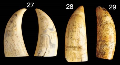A PAIR OF SCRIMSHAW DECORATED