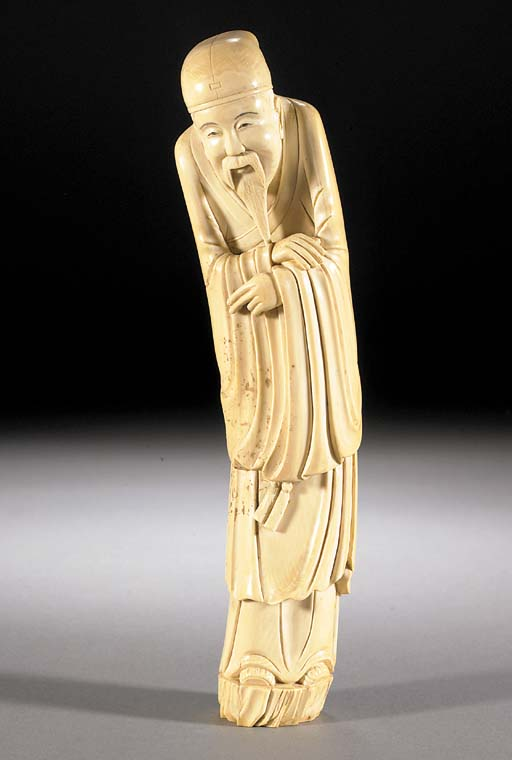 An ivory model of a bearded immortal 19th Century