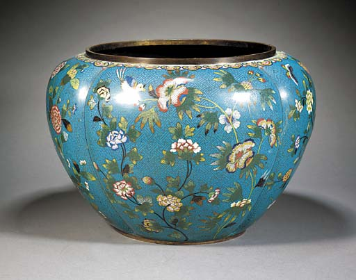 A large quatrefoil shaped cloisonne jardiniere Early 19th Century