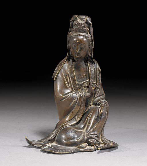 A bronze figure of Guanyin 17th Century