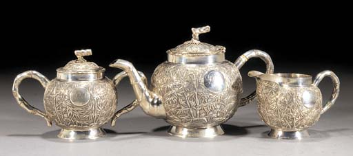 A silver three piece tea set 19th Century