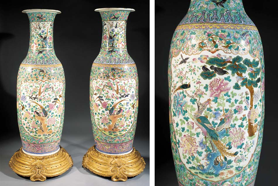 A massive pair of Cantonese baluster vases 19th century