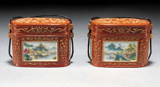 A pair of oval boxes and covers 20th century