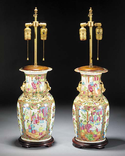 A pair of Cantonese baluster vases 19th Century