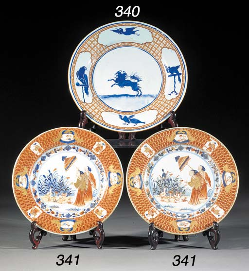 Two Pronk porcelain dinner plates Circa 1738-40