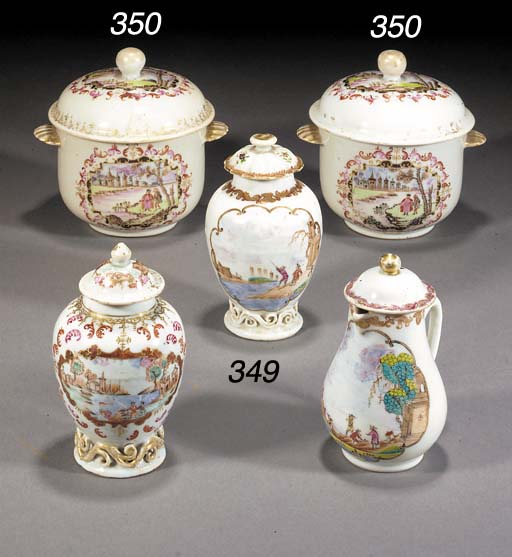 A pair of famille rose export bowls and covers Qianlong