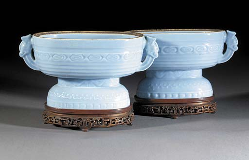 A pair of clair de lune glazed oval footed vessels Qianlong