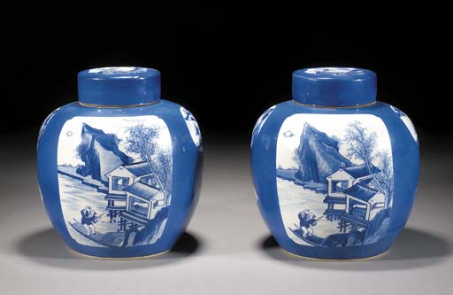 A pair of blue and white ginger jars and covers 19th Century