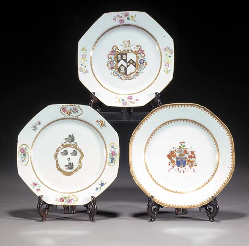 Three famille rose armorial octagonal plates Circa 1750-70