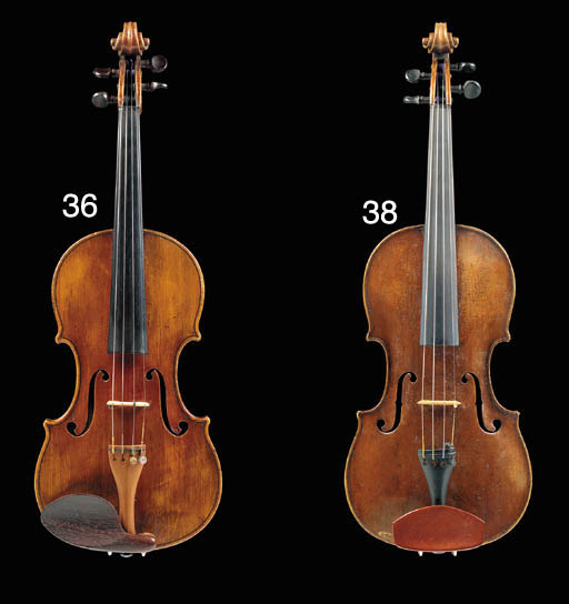 An English violin, by Joseph Hill, labelled Made & Sold by JOS. H HILL at e/y Violin in Angel Court/17 Westminster 59, stamped under button 85TH REG, the one-piece back of broad curl, the varnish of an orange-brown colour, the length of back 13 15/16in (355mm), with Hill case	 (2)