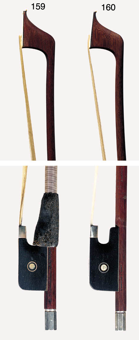 A silver-mounted violoncello bow, the round stick stamped A. Vigneron A Paris, the ebony frog with Parisian eye, the silver adjuster with pearl eye, weight 81 grams
