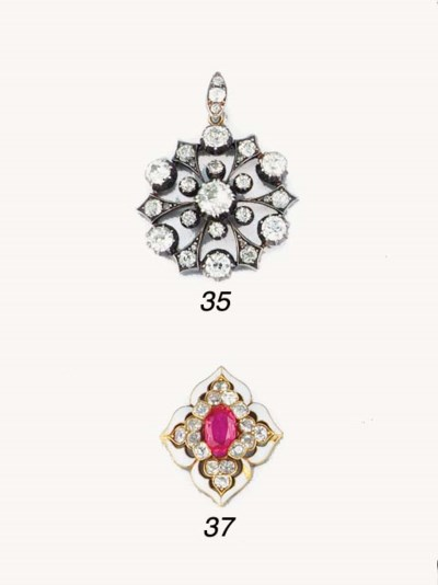A 19th century gold, ruby, dia