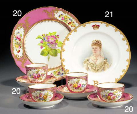 Two Minton pink-ground teacups
