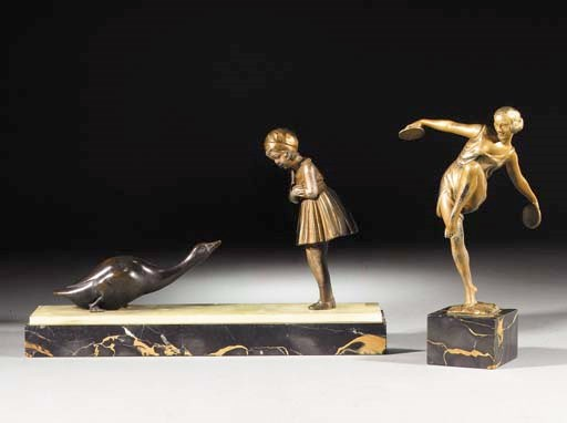 A gilt and silvered spelter fi