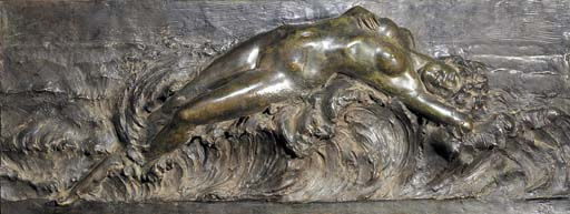 A large patinated bronze relie