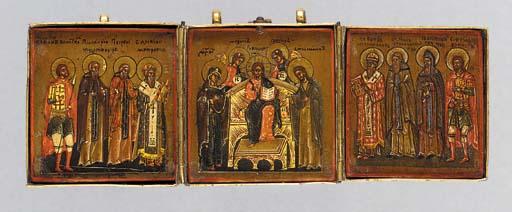 A brass bound triptych icon