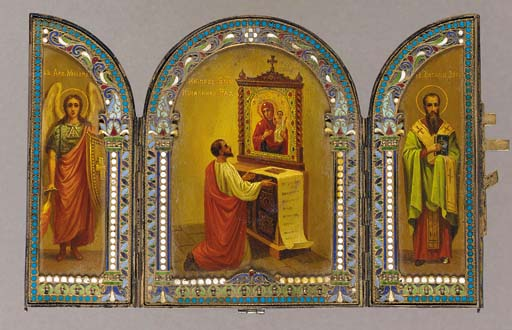A silver and enamel triptych