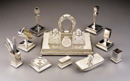 A RUSSIAN SILVER DESK SET