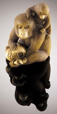 An ivory netsuke of a monkey a