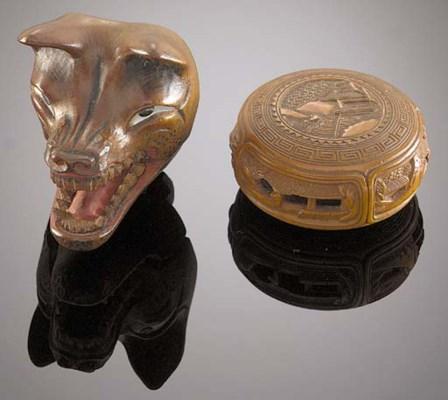 A wood netsuke of a fox mask E