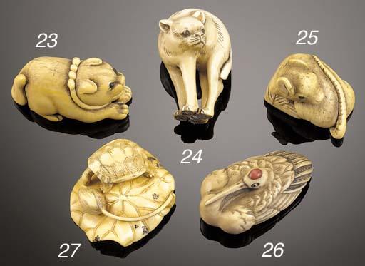 An ivory netsuke of a tortoise