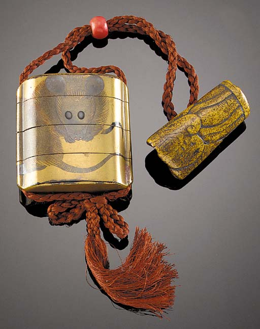 A gold lacquer three-case inro