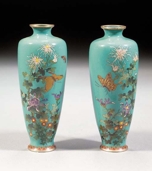 A pair of turquoise ground clo